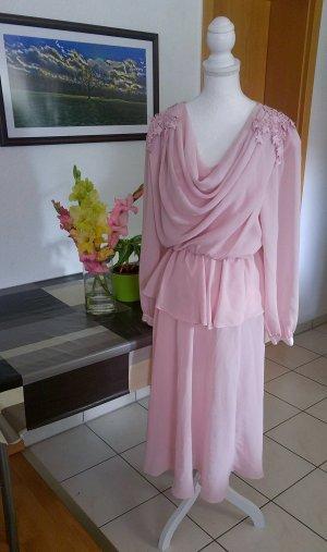 Vintage 80s Kleid chiffon Rosa Perlen floral spitze