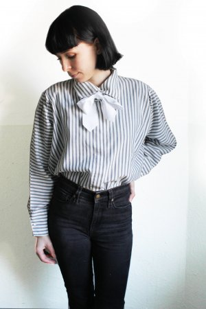 Vintage 80s Stripe Frill Shirt Blouse