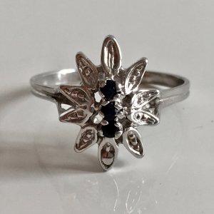 Vintage 835 Silber Ring 3 Saphire facettiert blau Silberring Blume Flower Blüte
