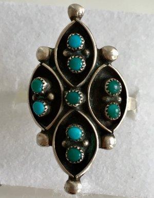 Vintage 835 Silber Ring 9x türkis Cabochon Steinbesatz