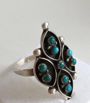 Vintage 835 Silber XL Ring 9x türkis Cabochon Steinbesatz Silberring Indian Mexico
