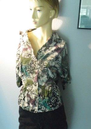 Vintage 90er Bluse Floral Viskose Peplum