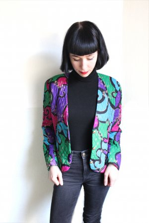Vintage 90s Abstract Frank Usher Blazer Quilted Jacket