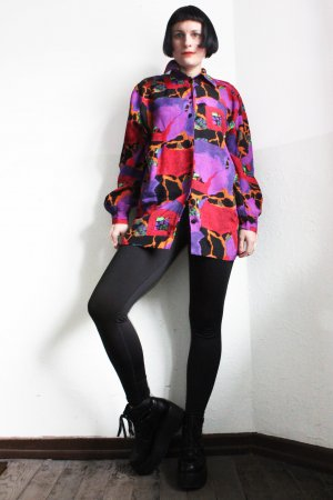 Vintage 90s Abstract Print Boyfriend Shirt Blouse