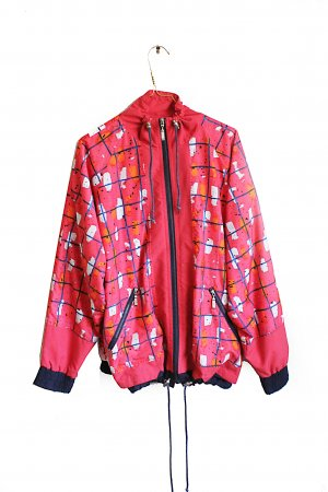 Vintage 90s Abstract Print Sports Cropped/Bomber Jacket