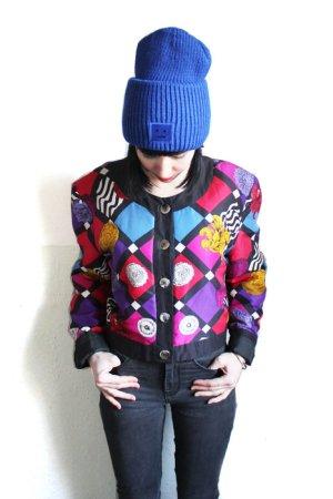 Vintage 90s Black Vibrant Patterned 100% Silk Cropped Jacket Bomber