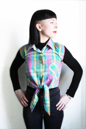 Vintage 90s Check Crop Top Blouse