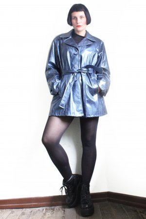 Vintage 90s Designer Oversize Vinyl Croco Blue Coat