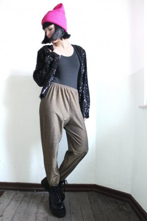 Vintage 90s Glitter Trousers-Pattered Stirrup Pants