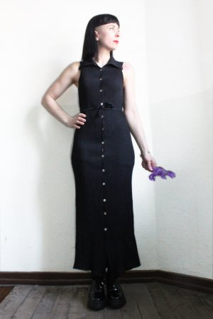 Vintage 90s Ragazza Black Maxi Button Vest Dress