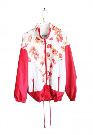 Vintage 90s Sports Festival Flower Print Bomber Jacket