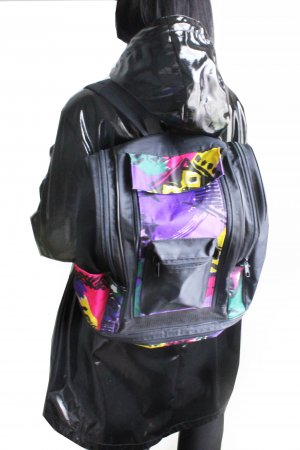 Vintage 90s Wave Abstract Print Contemporary Backpack