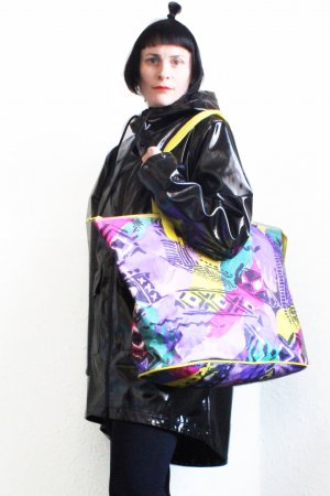 Vintage 90s Wave Abstract Print Contemporary Bag