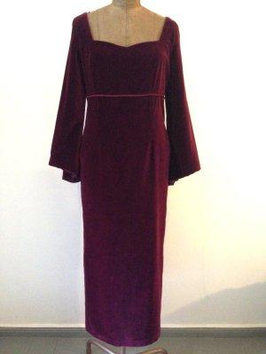Vintage Abendkleid aus dunkelrotem Samt mit weiten Ärmeln, Gr. 40/42