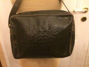 Vintage Aigner Kroko Prägung Tasche Echtleder schwarz