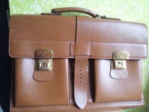 Briefcase brown red leather