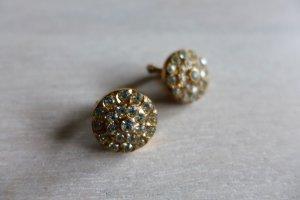 Vintage alt Ohrringe Ohrclips 60er 70er Strass gold