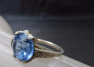 Vintage Silver Ring silver-colored-blue real silver