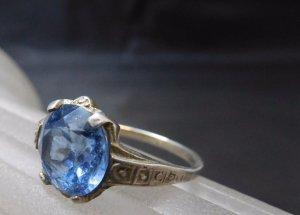 Vintage antik Jugendstil Ring 835 Silber Blautopas Edelstein Topas Echtsilber
