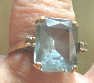 Vintage Aquamarin Ring Gr. 58 Gold