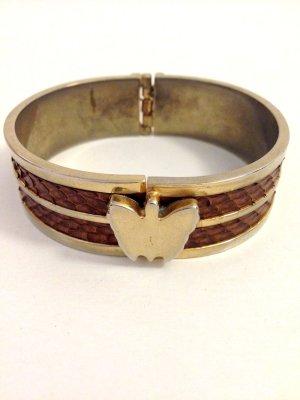 Vintage Armreifen mit Schmetterlings Verschluss und geprägtem Leder