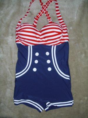 Vintage Badeanzug in blau-rot-weiß Größe L von Belsira