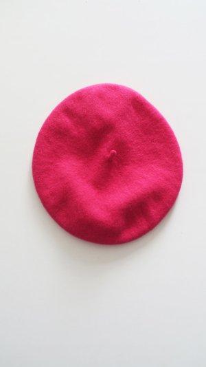 Vintage Baskenmütze aus Wolle pink