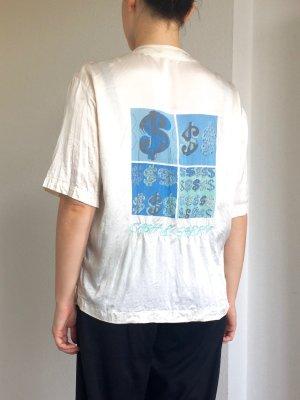 Vintage bedruckte kurzärmelige Bluse aus pure Seide