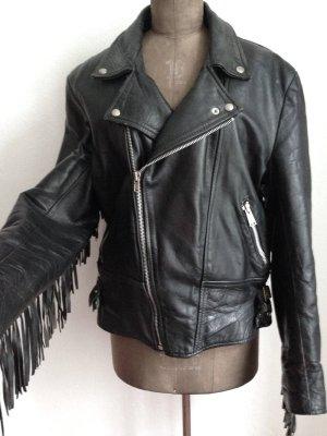 Vintage Biker Jacke aus echtem Leder mit Fransen, Gr. 42/44