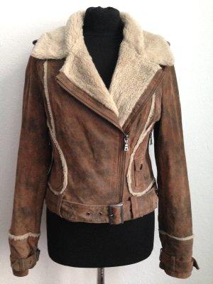 Vintage Bikerjacke aus echtem Leder und Kunstfell, Gr. M (38/40)
