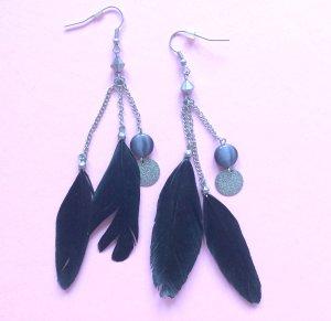 Vintage Black Feather Earrings