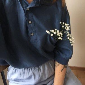 Vintage blaues lockeres Oversize Polo Shirt Bluse aus Seide Silk