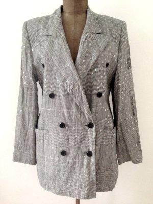 Vintage Blazer aus Leinen von Escada mit Pailetten, Gr. 42
