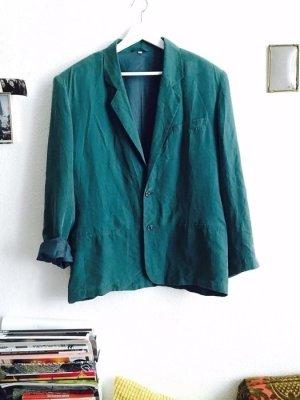 Vintage Blazer Jacke Seide Grün