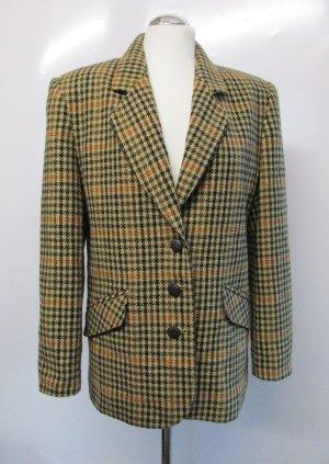 Vintage Blazer M 38 Karo Braun Beige Jacke kariert Wollblazer Tartan Englisch 80er Lord