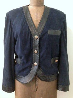 Vintage Blazer mit echtem Leder, Gr. 42