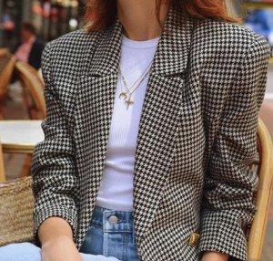 Vintage Blazer Oversize Hahnentritt Tartan Brit Oxford Trend Blogger Karo