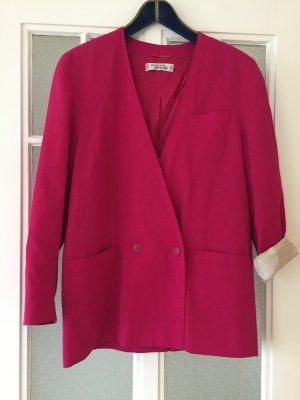 Vintage-Blazer, pink, helles Innenfutter, oversize, doppelreihig, Größe 38/40