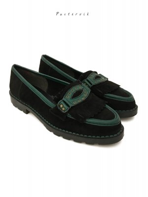 Vintage Blogger Style Wildleder Loafer Lederschuhe Halbschuhe Dunkelgrün
