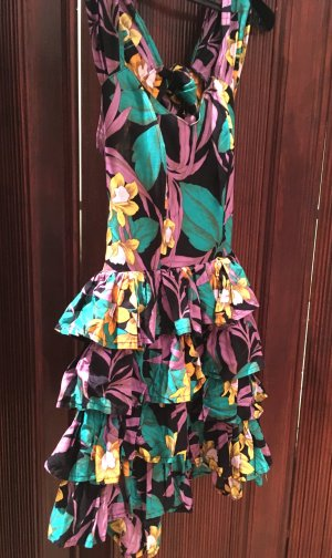 Vintage Blumen mini Kleid mit hinten ausgeschnitten