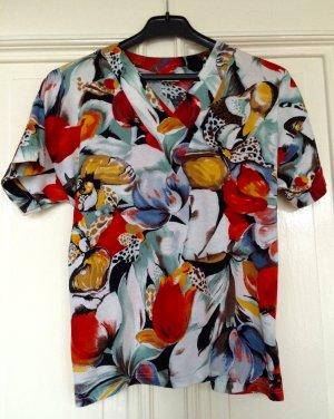 Vintage Blumen Shirt Flowers Print Retro Baumwolle Modal Trend Tropical