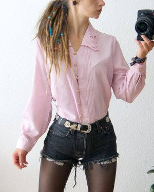 Vintage Bluse altrosa, Bluse Spitzenkragen, blogger preppy