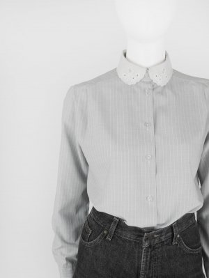 Long Sleeve Blouse light grey-white cotton