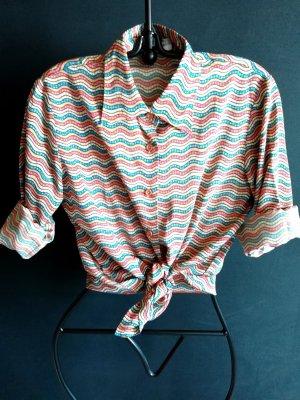 Vintage Bluse aus weicher Seide mit Wellenmuster