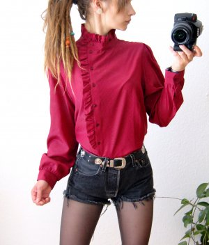 Vintage Ruche blouse karmijn-neonrood