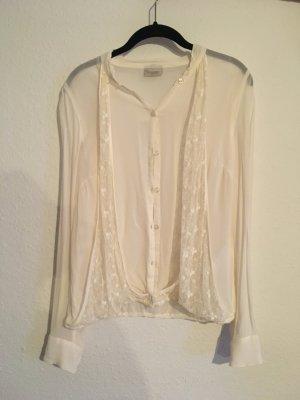 Vintage Bluse beige, XS, Bonaparte, leicht durchsichtig