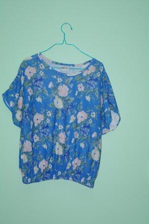 VINTAGE BLUSE Blau Blumen USA 60er Jahre