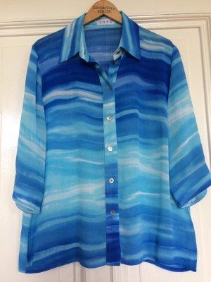 Vintage Bluse Blau Meer Maritim Seidenmalereistil Trend Blogger Oversize