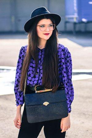 Vintage Bluse blau / schwarz