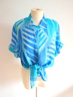 Vintage Bluse Blautöne, oversized Bluse grafisch aquamarin, blogger boho